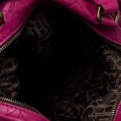 Carolina Herrera Fuchsia Quilted Leather Bowler Bag