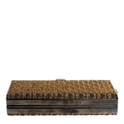 Carolina Herrera Gold Shimmering Jacquard Fabric Chain Clutch