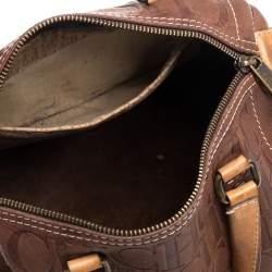 Carolina Herrera Brown Leather Monogram Embossed Andy Boston Bag