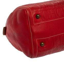 Carolina Herrera Red/Beige Monogram Embossed Leather Andy Boston Bag
