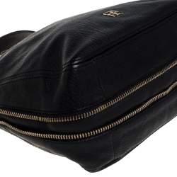 Carolina Herrera Black Leather Zip Satchel