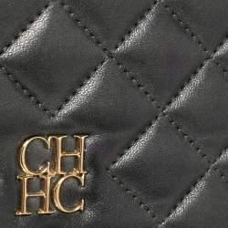 Carolina Herrera Dark Grey Quilted Leather Flap Chain Bag