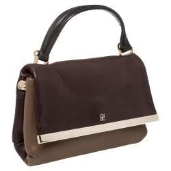Carolina Herrera Bicolor Leather Top Handle Bag