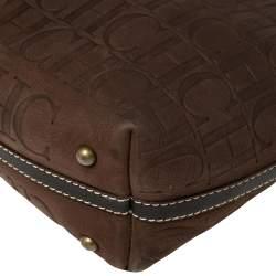 Carolina Herrera Dark Brown Monogram Embossed Leather Shopper Tote