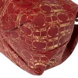 Carolina Herrera Red/Gold Monogram Leather Chain Tote