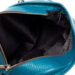 Carolina Herrera Dark Green Leather Tassel Zip Tote