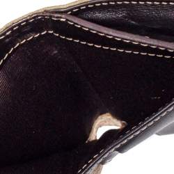 Carolina Herrera Gold/Beige Monogram Coated Canvas and Leather Flap Compact Wallet