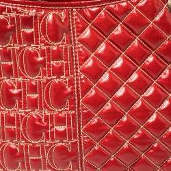 Carolina Herrera Red Quilted Monogram Coated Canvas Chain Tote