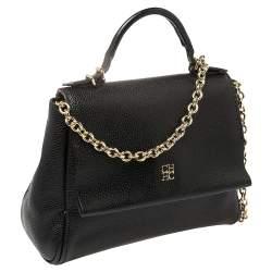 Carolina Herrera Black Leather Minueto Top Handle Bag
