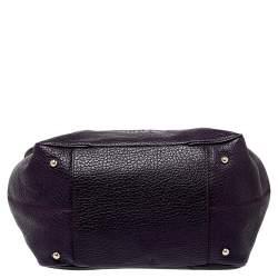 Carolina Herrera Dark Purple Grained Leather Boston Bag