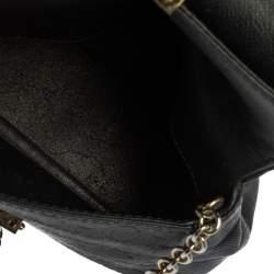 Carolina Herrera Black Leather Minuetto Flap Top Handle Bag