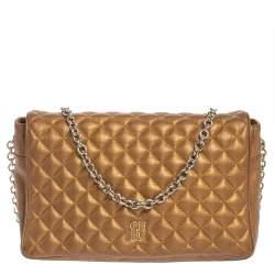 Carolina Herrera Gold Quilted Leather Flap Chain Shoulder Bag