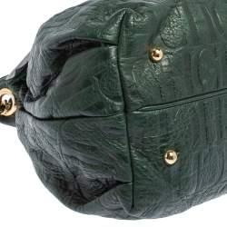 Carolina Herrera Dark Green Monogram Embossed Leather Bow Bucket Shoulder Bag