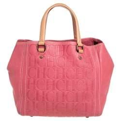 Carolina Herrera Pink Monogram Leather Tote