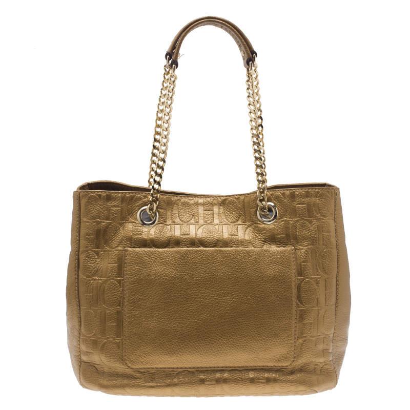 Carolina Herrera Gold Monogram Leather Audrey Tote Bag