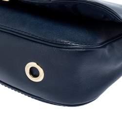 Carolina Herrera Blue Leather New Baltazar Flap Shoulder Bag
