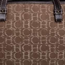 Carolina Herrera Beige/Dark Brown Monorgam Fabric and Leather Open Tote