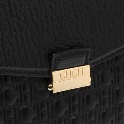 Carolina Herrera Black Monogram Leather Flap Top Handle Bag
