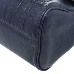 Carolina Herrera Navy Blue Embossed Leather Minuetto Flap Top Handle Bag
