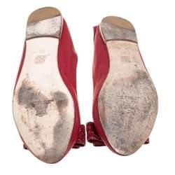 Carolina Herrera Red Leather Bow Ballet Flats Size 39