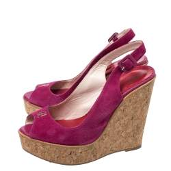 Carolina Herrera Pink Suede Cork Wedge Platform Peep Toe Slingback Sandals Size 37
