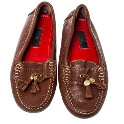 CH Carolina Herrera Brown Perforated Leather Fringe Moccasins Size 36