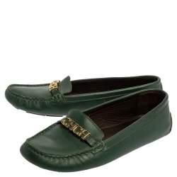 Carolina Herrera Green Leather Logo Detail Slip On Loafers Size 39