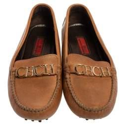 Carolina Herrera Tan Leather Logo CHHC Loafers Size 38