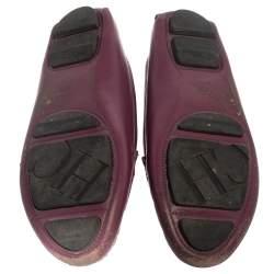 Carolina Herrera Purple Leather Logo Loafers Size 37