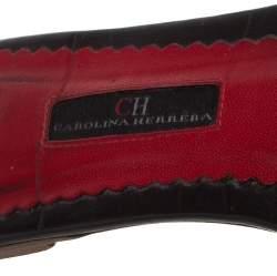 Carolina Herrera White/Brown CH Logo Coated Canvas Bow Detail Flat Slides Size 39