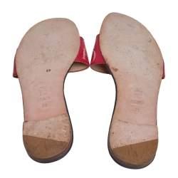 Carolina Herrera Blue/Red Leather Bow Flat Slides Size 39