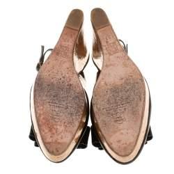 Carolina Herrera Black Patent Leather Cork Wedge Platform Slingback Sandals Size 37