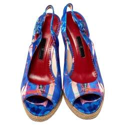 Carolina Herrera Blue Printed Satin Espadrille Wedge Sandals Size 37
