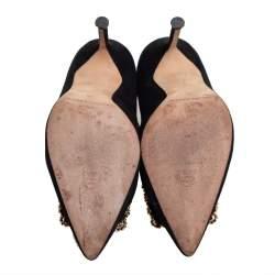 Carolina Herrera Black Suede Crystal Embellished Pointed Toe Pumps Size 36