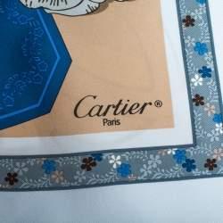 Cartier Pale Blue Printed Silk Square Scarf
