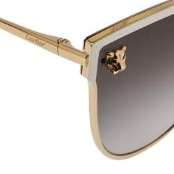 Cartier Brushed Platinum Tone/ Grey Gradient Panthère de Cartier Cat Eye Sunglasses