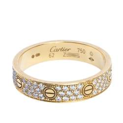 Cartier Love Pave Diamond 18K Yellow Gold Wedding Band Ring Size 62
