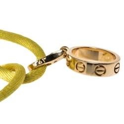 Cartier Love Charm 18K Yellow Gold Adjustable Cord Bracelet