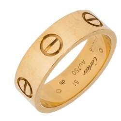 Cartier LOVE 18K Yellow Gold Band Ring Size 51