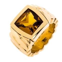 Cartier La Dona Citrine 18K Yellow Gold Band Ring Size 52.5