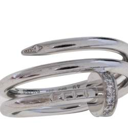 Cartier Juste Un Clou Diamond 18K White Gold Ring Size 49