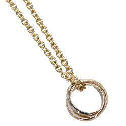 Cartier 18K Yellow Rose And White Gold Trinity Pendant Necklace