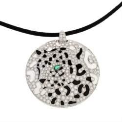 Cartier Panther Diamond Emerald Openwork Disc Pendant Black Cord Necklace
