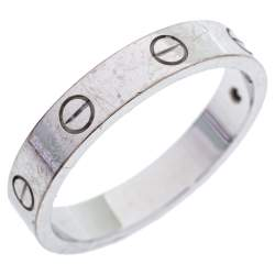 Cartier Love 1 Diamond 18K White Gold Wedding Band Ring Size 60