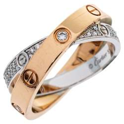 Cartier Love Diamond 18K Two Tone Gold Double Band Ring Size 51