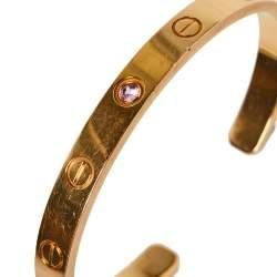 Cartier Love Pink Sapphire 18K Rose Gold Cuff Bracelet 16