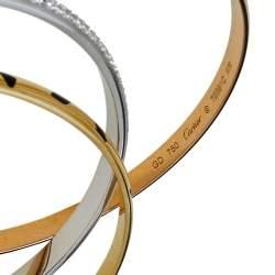 Cartier Trinity Panthere Diamond 18K Three Tone Gold Slip On Bangle