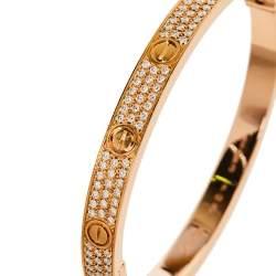 Cartier Love Diamond Paved 18K Rose Gold Bracelet 19