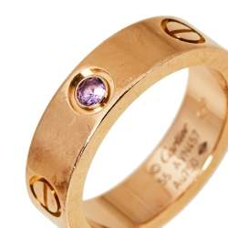 Cartier Love Pink Sapphire 18K Rose Gold Ring Size 55