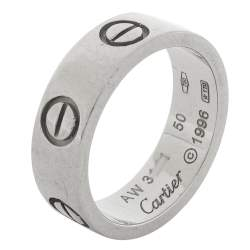 Cartier Vintage Love 18K White Gold Wedding Band Ring Size 50